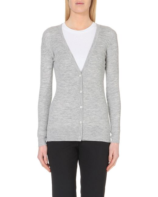 Theory | Gray Orhila Wool Cardigan | Lyst