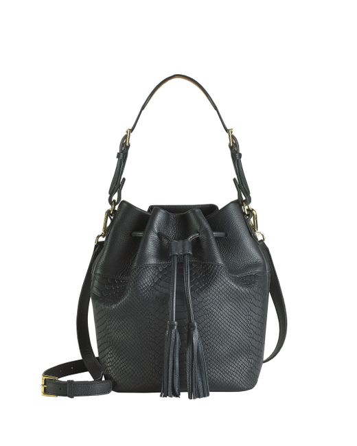 Gigi New York | Black Jenn Python-embossed Leather Bucket Bag | Lyst