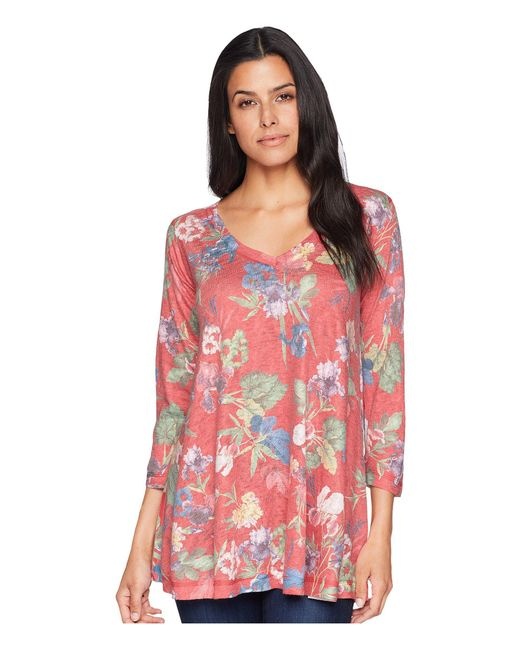 Nally & Millie - 3/4 Sleeve Red Multi Floral Tunic - Lyst