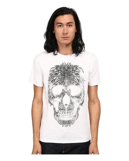 Just Cavalli - White Short Sleeve Feather Skull Graphic Super Slim Tee for Men - Lyst