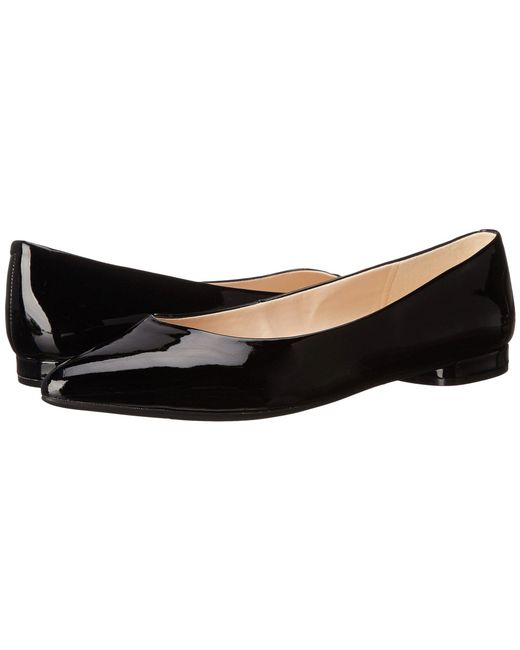 Women's Nine West Onlee Black Synthetic Flats (Black Leather) -