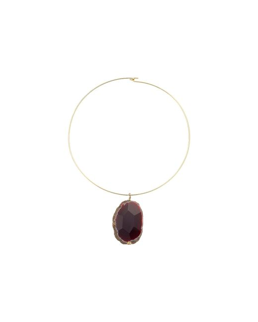 Kenneth Jay Lane - Gold Wire With Natural Agate Stone Necklace - Lyst