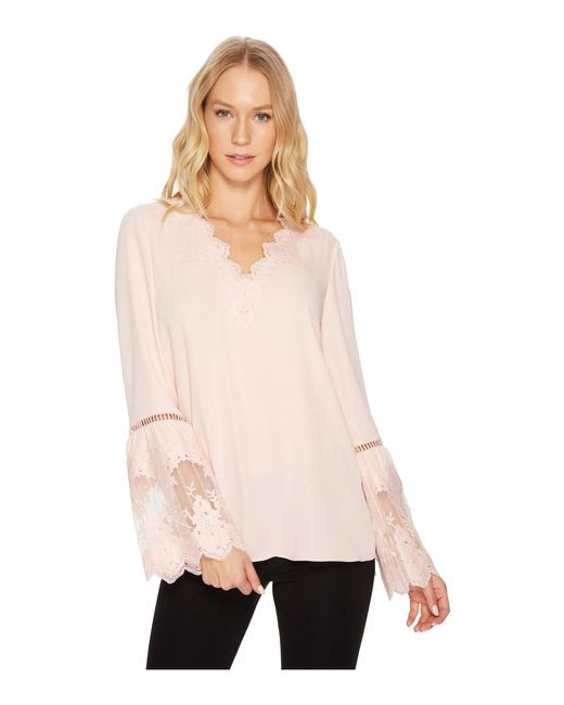 Catherine Malandrino - Pink Long Sleeve Blouse W/ Lace Applique & Trim - Lyst