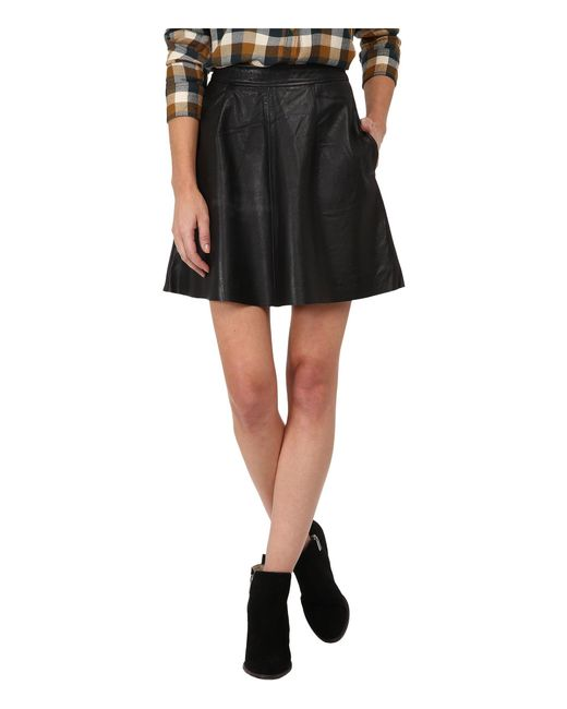 Lucky Brand - Black Leather Flirty Skirt - Lyst