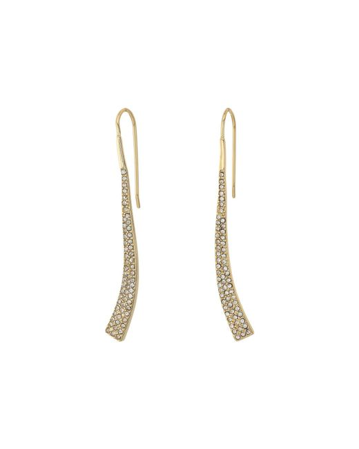 Lauren by Ralph Lauren - Metallic Minimal Metal And Pave Curved Linear Earrings - Lyst