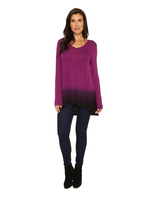 Mod-o-doc - Multicolor Rayon Spandex Jersey Dip-dye Back Pleat Long Sleeve Tee - Lyst