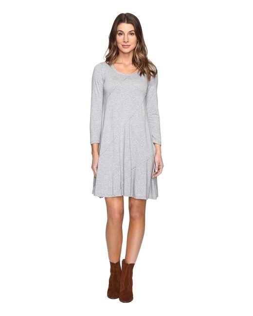 Mod-o-doc - Gray Cotton Modal Spandex Jersey Seamed Swing Dress - Lyst