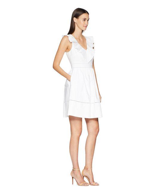 7a98003b19b Kate Spade Ruffle Neck Dress in White - Save 83% - Lyst