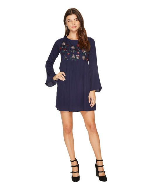 BB Dakota - Blue Bria Embroidered Tie Back Dress - Lyst