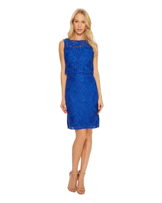 Ellen Tracy | Blue Lace Popover Dress | Lyst