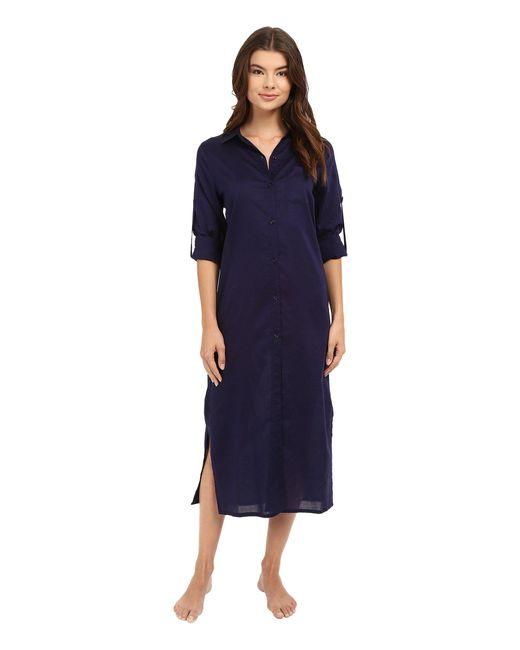 Yummie - Blue Cotton Voile Mandarin Button Down Dress W/ Side Vents - Lyst