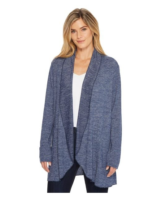 Mod-o-doc - Blue Lightweight Heather Sweater Knit Princess Seamed Cardigan - Lyst