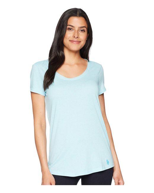 U.S. POLO ASSN. - Blue Soft Heather Scoop Neck T-shirt - Lyst