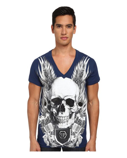 Philipp Plein | Blue Captain T-shirt for Men | Lyst