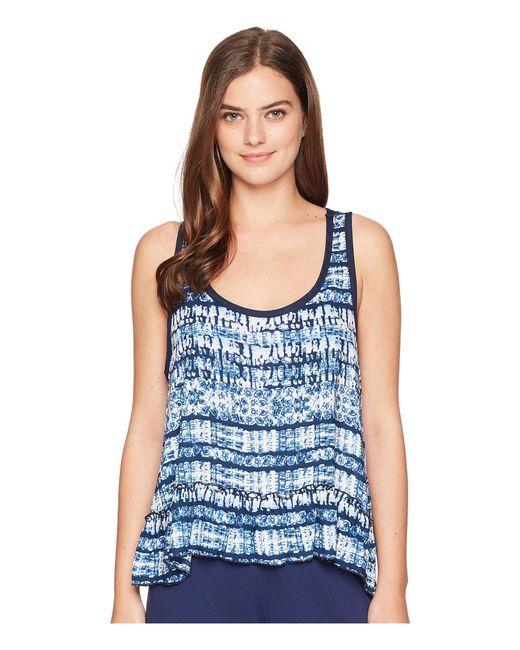 Splendid - Blue Pajama Tank Top W/ Ruffle Hem - Lyst
