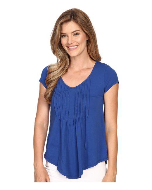 Mod-o-doc - Blue Supreme Jersey Tux Pleat Short Sleeve V-neck Tee - Lyst