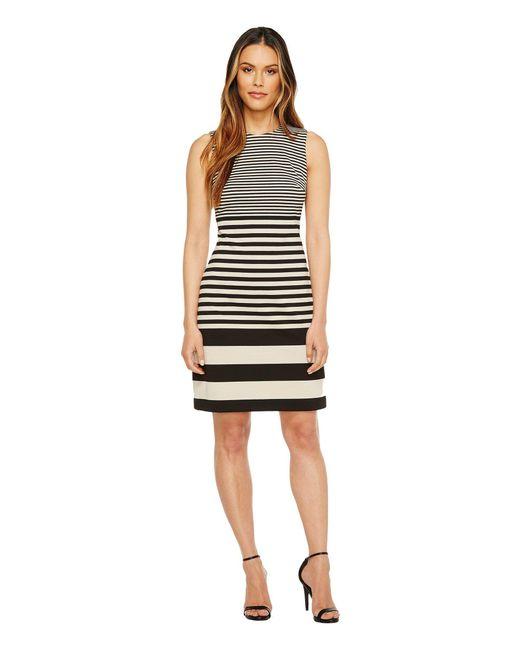 Calvin Klein - Black Sleeveless Stripe Sheath Dress - Lyst