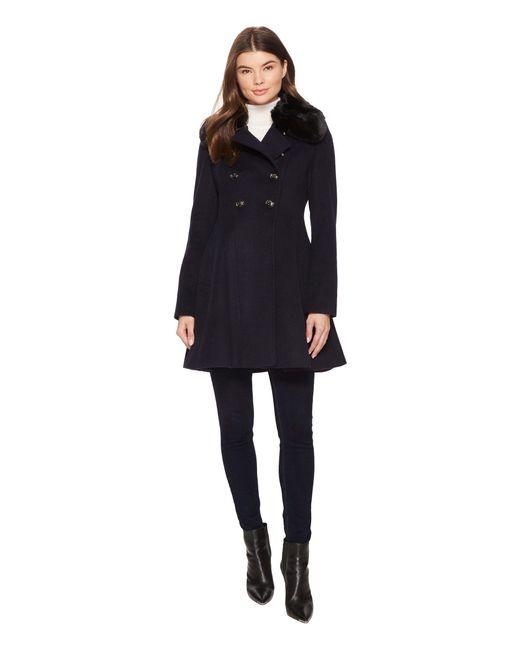 Via Spiga - Blue Military Inspired Wool A-line W/ Faux Fur - Lyst