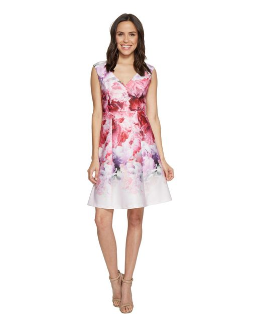 Lyst Adrianna Papell Peony Fit Amp Flare Dress In Pink