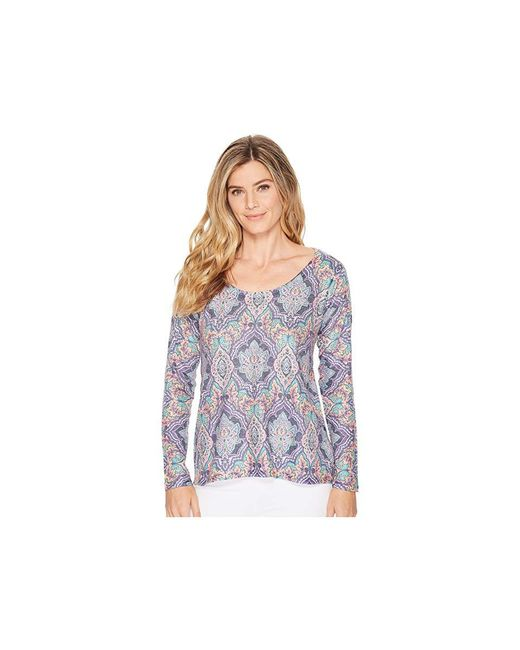 Nally & Millie - Blue Abstract Print Asymmetric Tunic (multi) Long Sleeve Pullover - Lyst