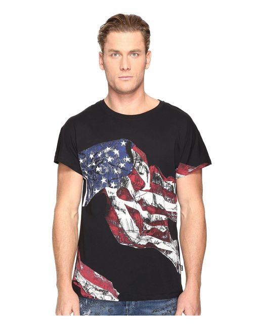 Just Cavalli - Black American Flag T-shirt for Men - Lyst