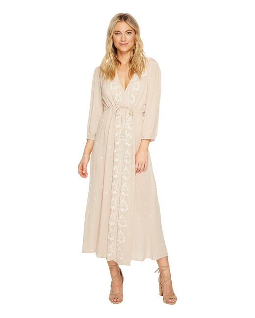 Free People - Pink Embroidered V Maxi Dress - Lyst