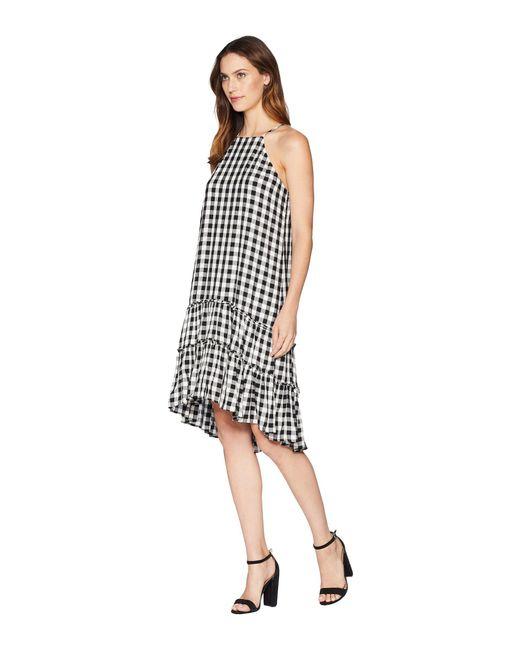 818f49c4e90 Lyst - Karen Kane Gingham Ruffle Hem Dress in Black - Save 37%