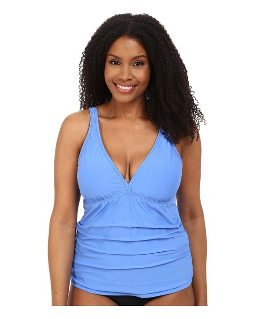Athena - Blue Plus Size Cabana Solids Removable Soft Cup Halterkini - Lyst