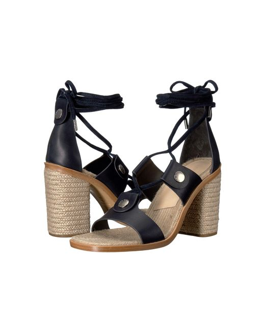 Rag & Bone - Blue Eden Leather Lace-up Block Heel Sandals - Lyst