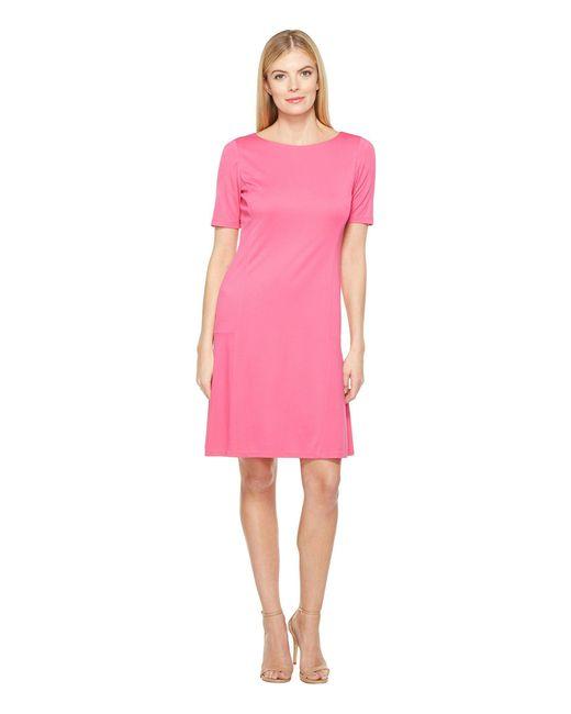 Ellen Tracy - Pink Elbow Sleeve Flounce Dress - Lyst
