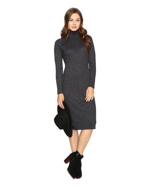 Kensie - Black Rayon Rib Midi Dress Ksdk7490 - Lyst