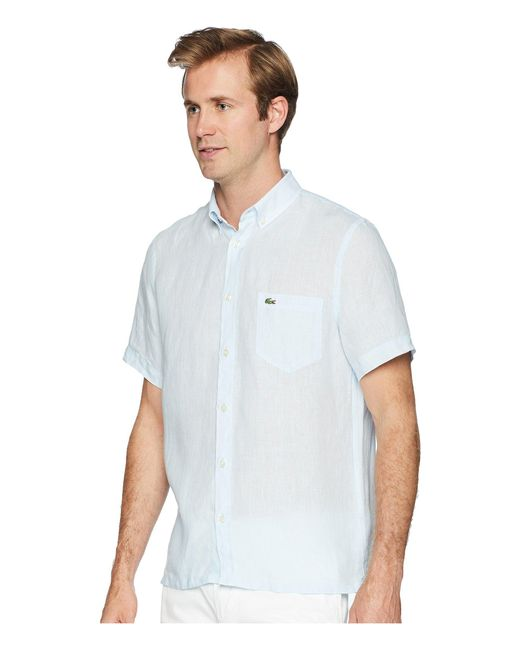 5f33d84ffb919f ... Lacoste - Blue Short Sleeve Solid Linen Button Down Collar Regular for  Men - Lyst ...