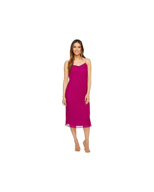 Maggy London - Purple Pleated Texture Slip Dress (berry) Dress - Lyst