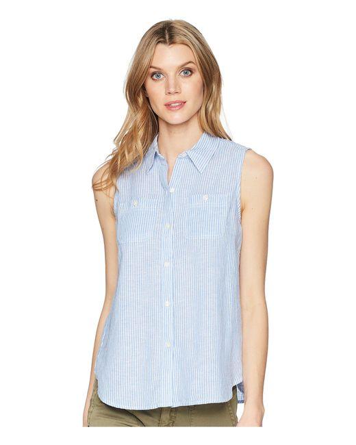 Chaps - Blue Striped Linen-blend Sleeveless Shirt - Lyst