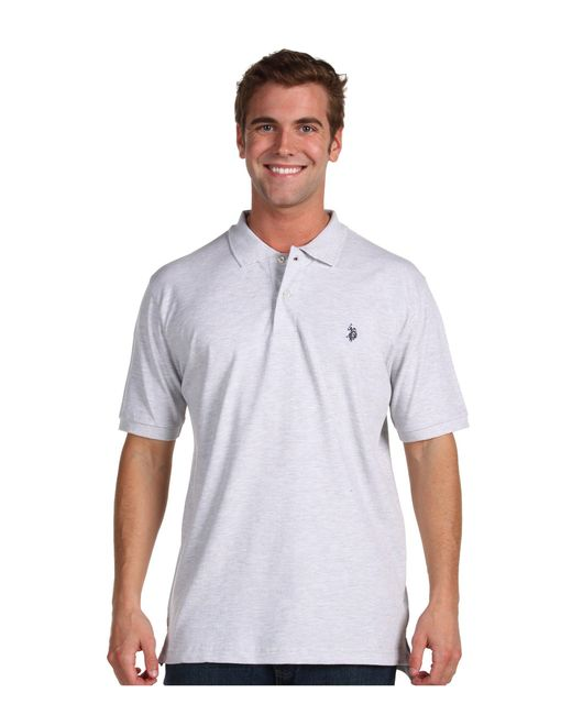 U.S. POLO ASSN. - Gray Solid Cotton Pique Polo With Small Pony for Men - Lyst