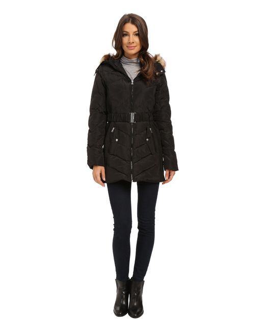 Jessica Simpson - Black Belted Down With Faux Fur Trim - Lyst