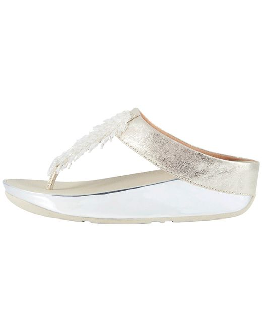 fe6e7288e7d8 Lyst - Fitflop Rumba Toe Thong Sandals in Metallic - Save 9%
