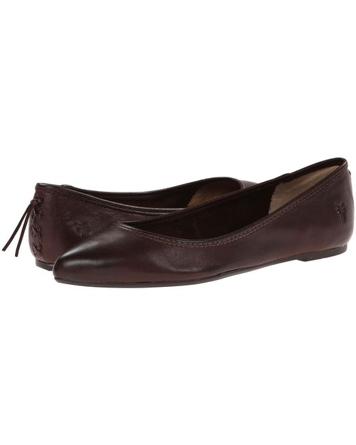 Frye - Brown Regina Pointed-toe Leather Ballet Flats - Lyst