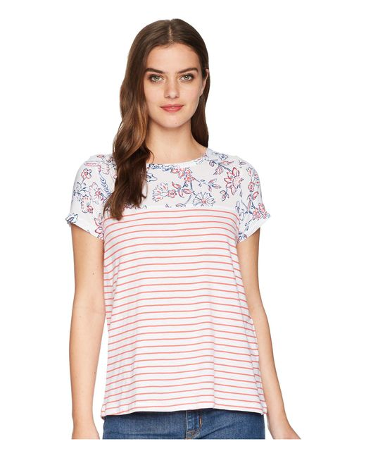 Joules - White Suzy Jersey/woven Mix T-shirt - Lyst