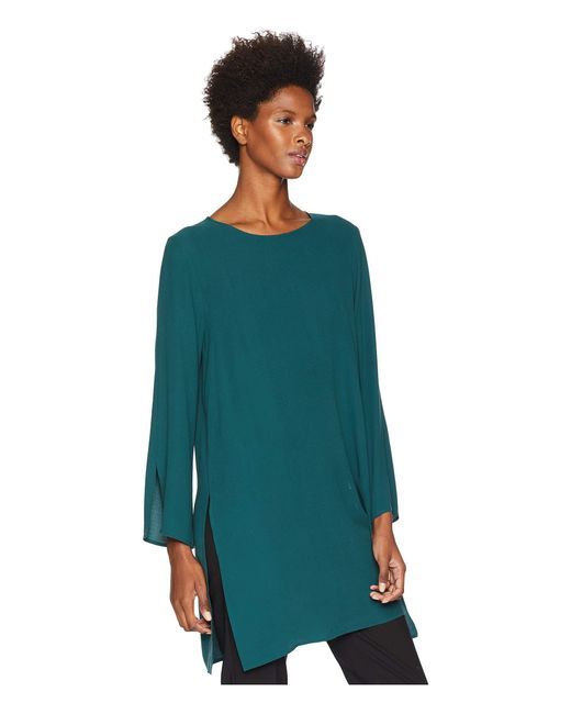 b6e09a0060d733 ... Eileen Fisher - Green Silk Georgette Crepe Round Neck Tunic With Side  Slits - Lyst ...
