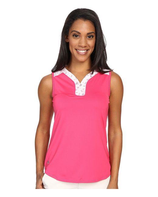 Adidas Originals - Pink Mesh Printed Sleeveless Polo - Lyst