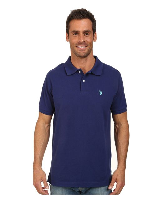 U.S. POLO ASSN. - Blue Solid Cotton Pique Polo With Small Pony for Men - Lyst