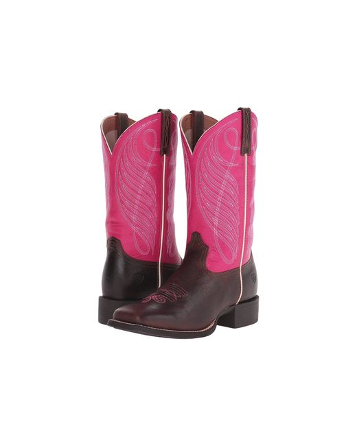 Ariat - Pink Round Up Square Toe - Lyst