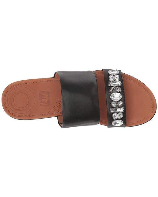f09cf74838 ... Fitflop - Deltatm Bejewelled Slide (black) Slide Shoes - Lyst ...