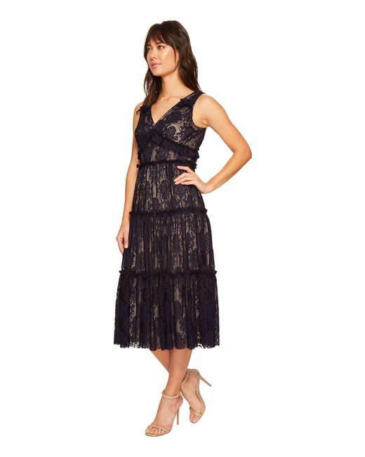 Lyst Maggy London Pleat Medallion Lace Tiered Cocktail Dress In