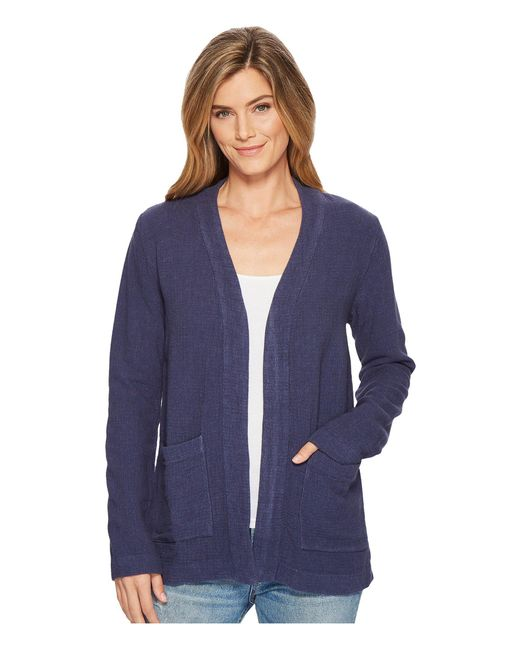 Mod-o-doc - Blue Weekender Rayon Linen Patch Pocket Cardigan - Lyst