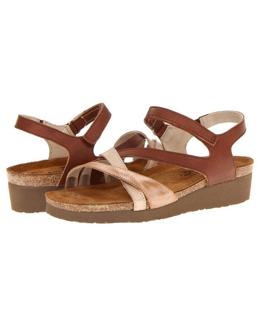 Naot   Brown Sophia Two-Toned Leather Sandals   Lyst