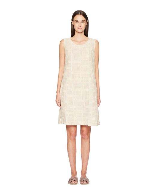 7a17e70e9a Lyst - Eileen Fisher Jewel Neck Shift Dress in Natural - Save 38%