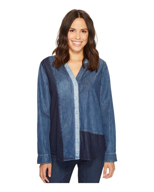 NYDJ - Blue Mixed Wash Denim Shirt - Lyst