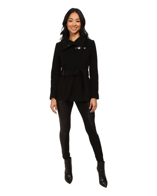 Cole Haan | Black Belted Double Breasted Jacket With Snap | Lyst